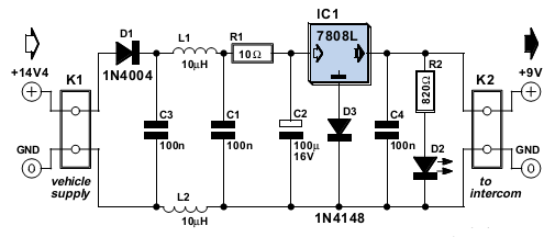 9V Battery Replacement Power Supply Circuit Diagram